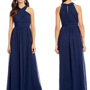 Adrianna Papell Halter Chiffon Open Back Gown 0